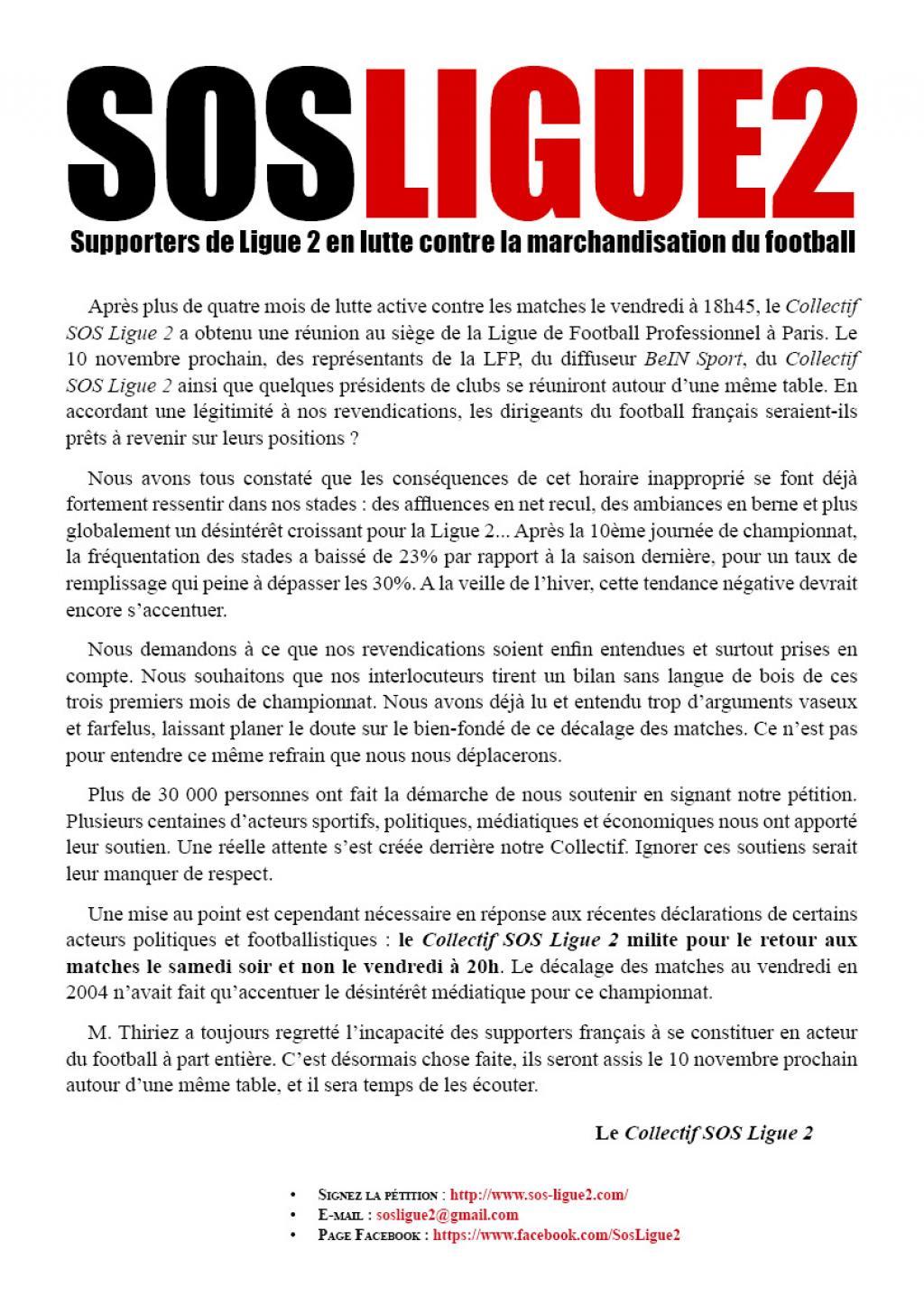 Communiqué SOS Ligue 2